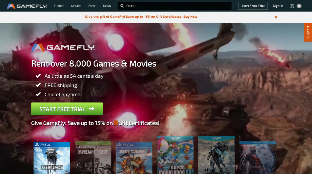 GameFly - Video Games / Movies Rental services